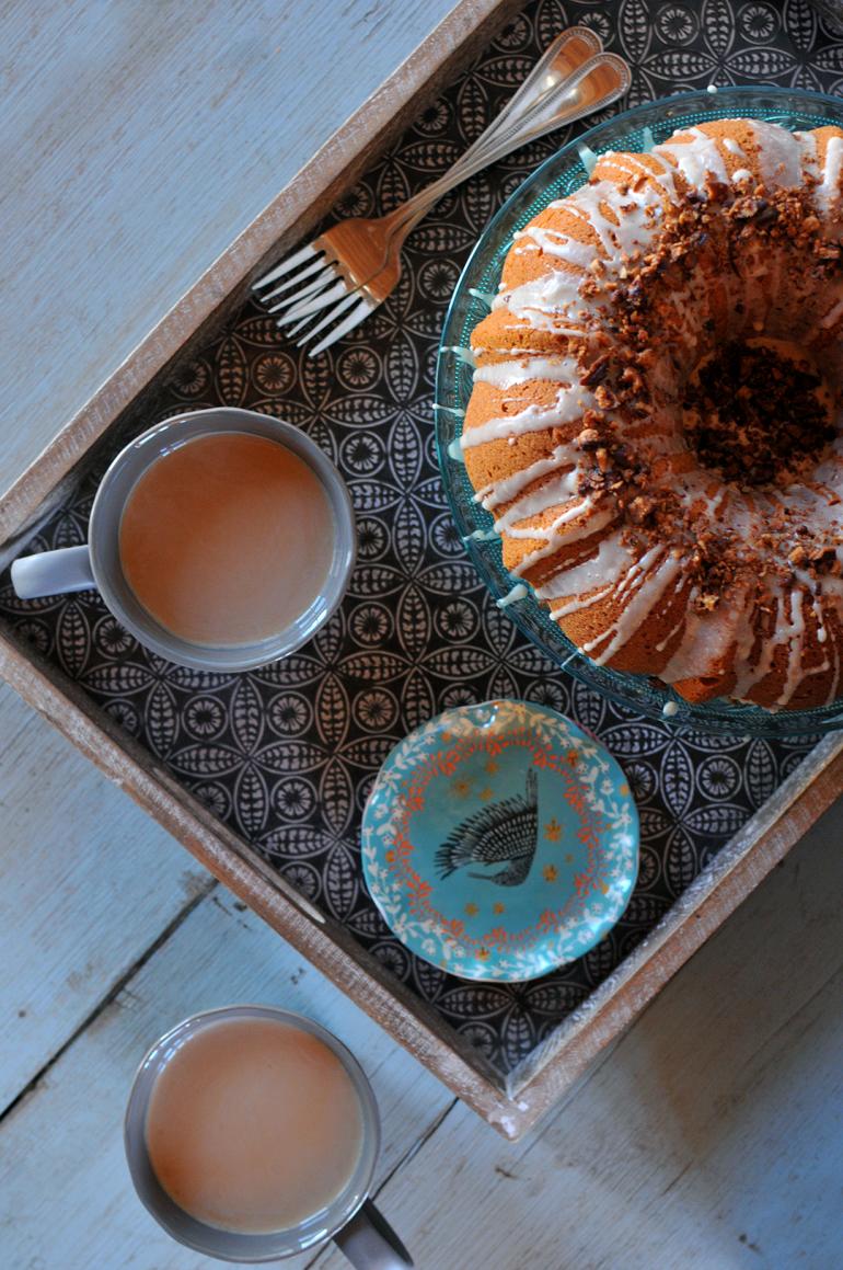 sweet potato bourbon cake above