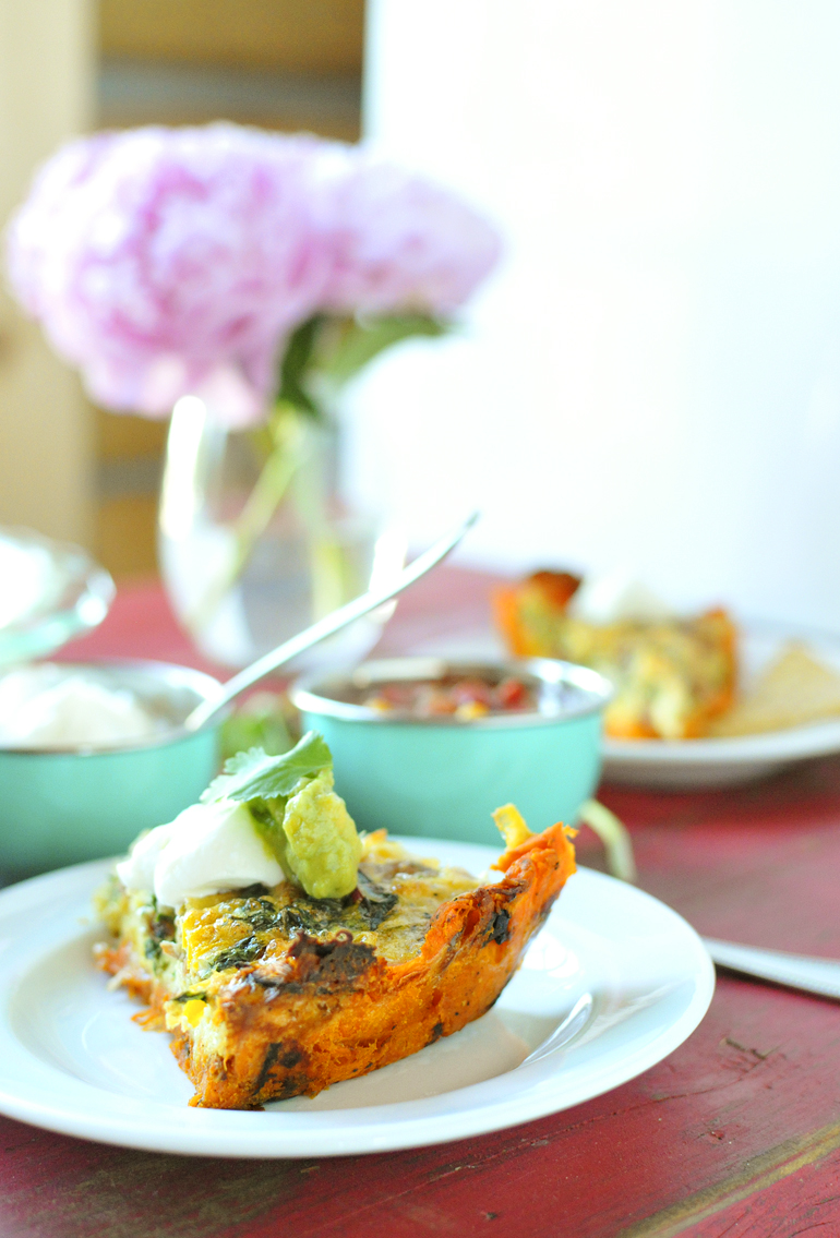southwestern quiche on a sweet potato crust