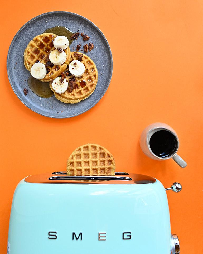 orange sweet potato waffles