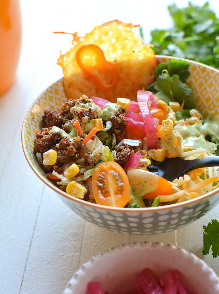closeup of taylor farms avocado ranch fiesta salad