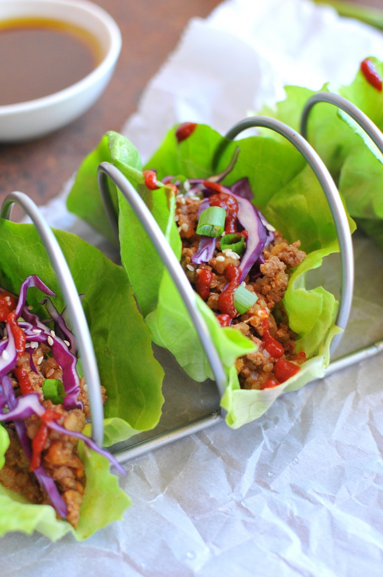 closeup of asian lettuce wraps with quinoa