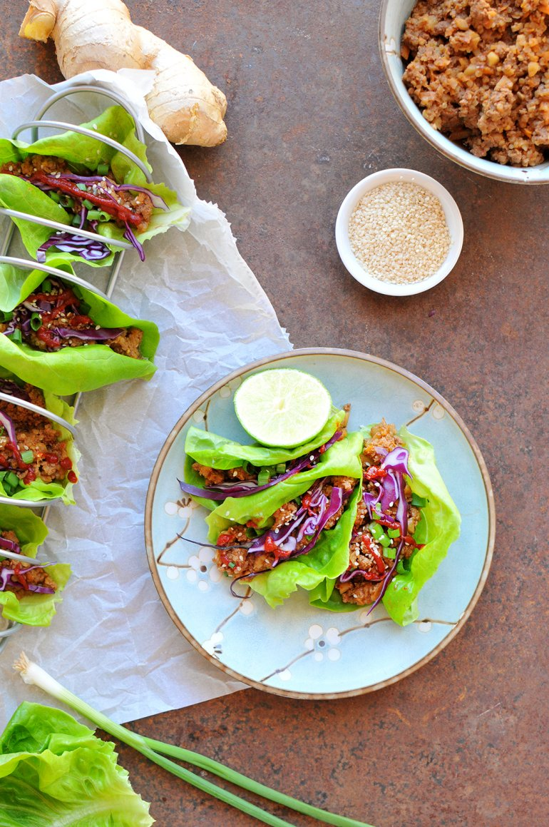 asian lettuce wraps on a plate