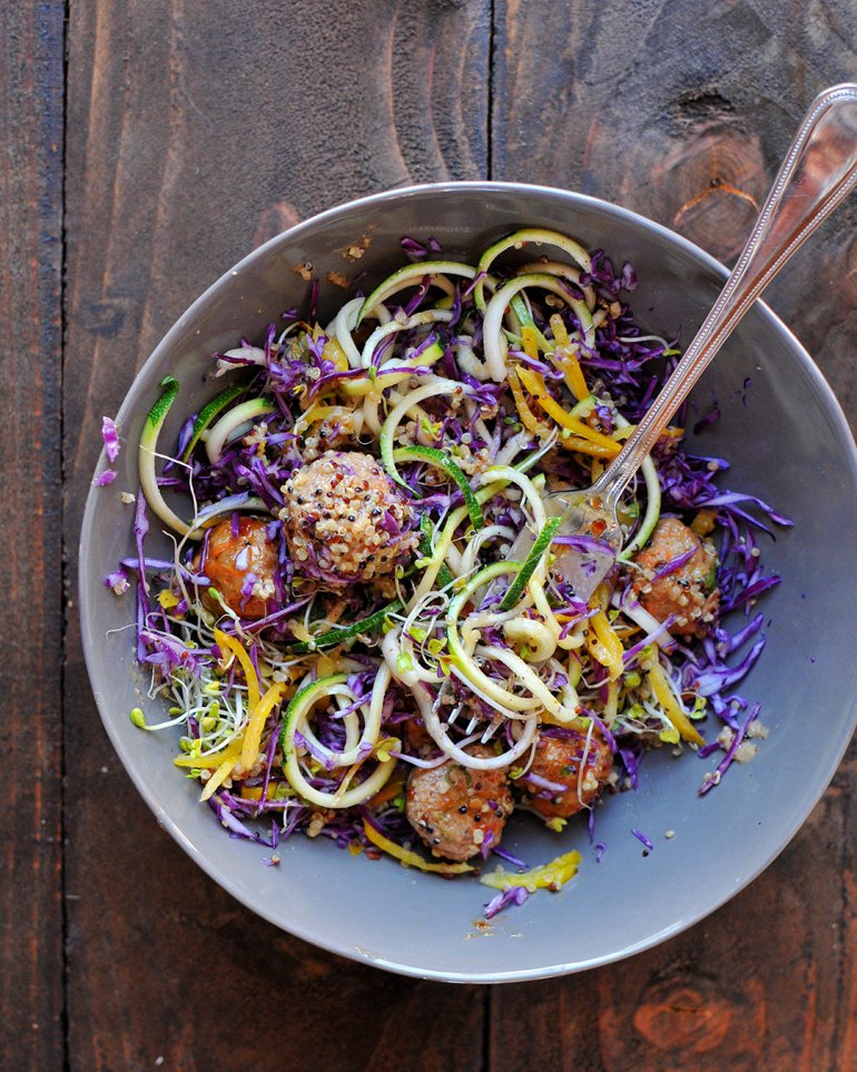 thai meatball zoodle bowl