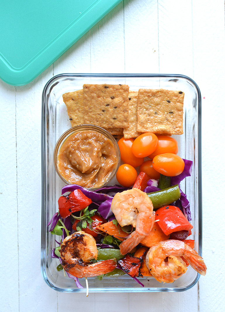 thai chile shrimp sheetpan meal prep containers