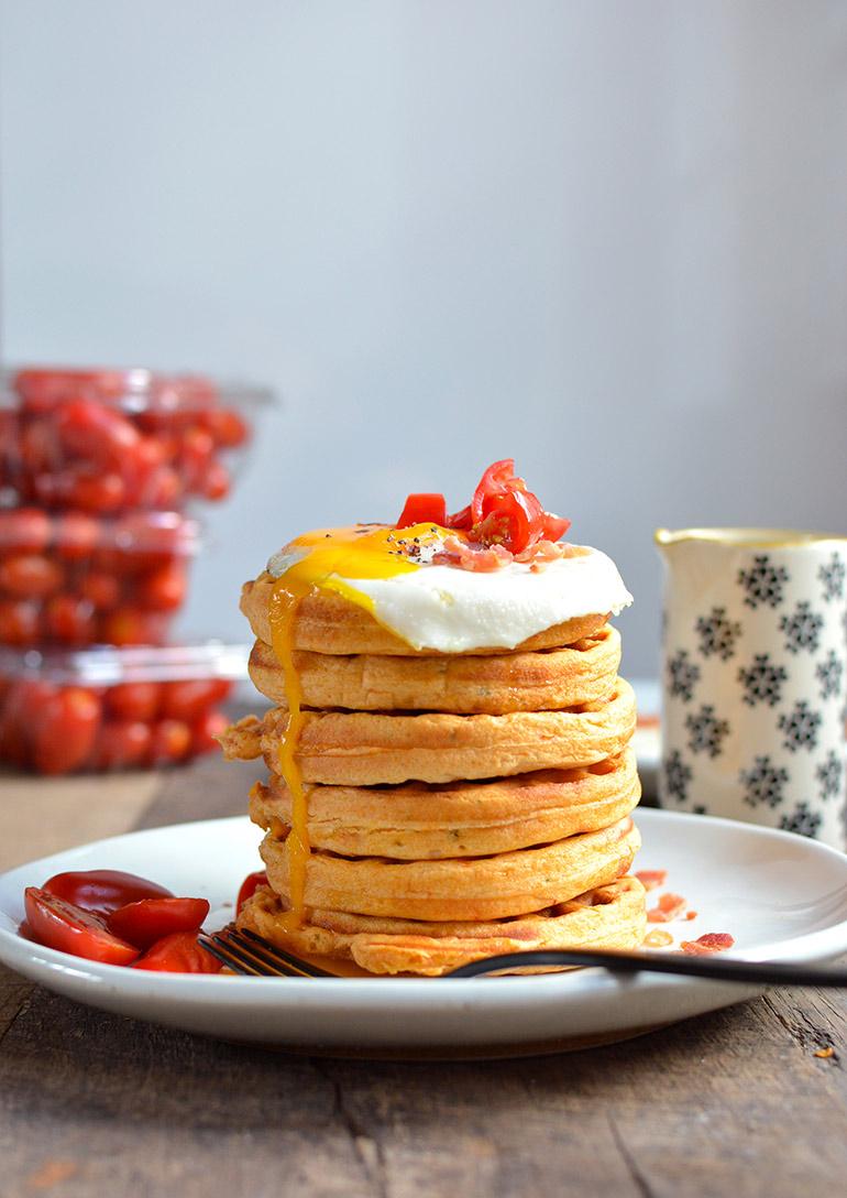 roasted tomato waffles stack