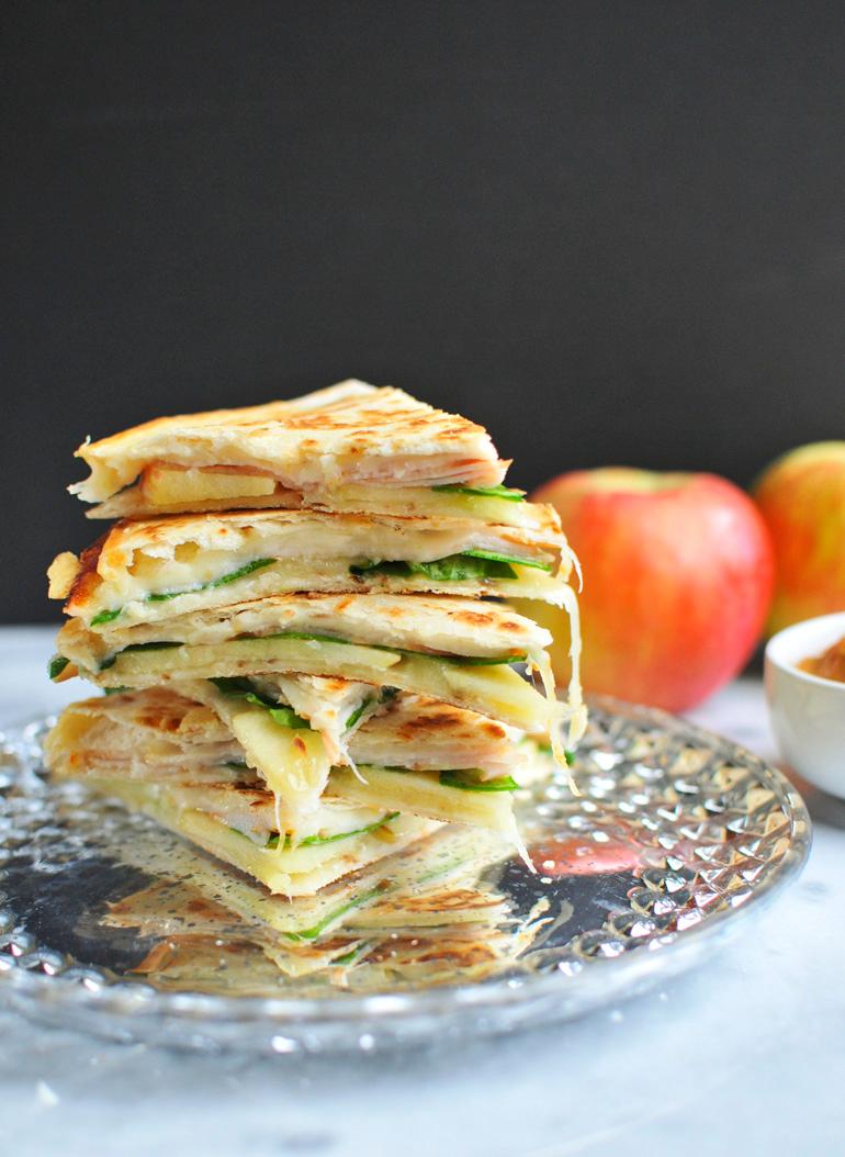 turkey apple quesadillas stack