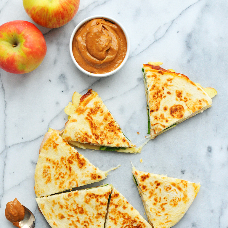 turkey apple quesadillas with creamy pumpkin bbq sauce