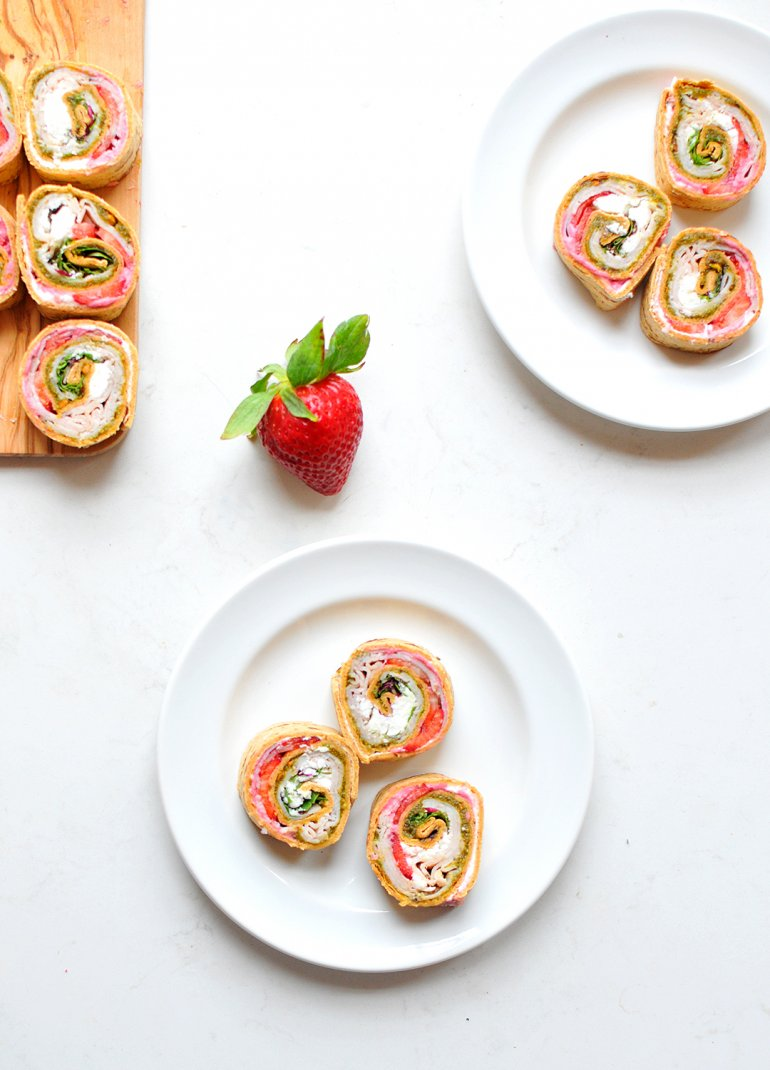 turkey strawberry pinwheels on plates