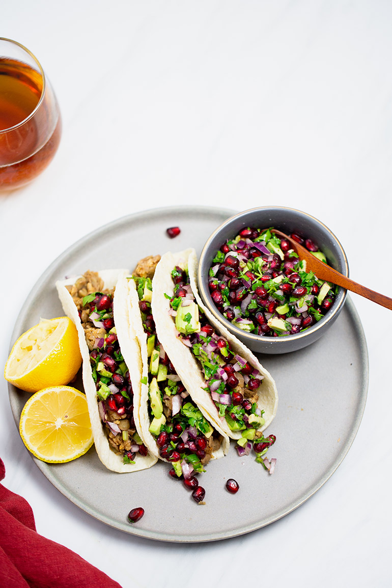 vegan tacos with pomegranate salsa