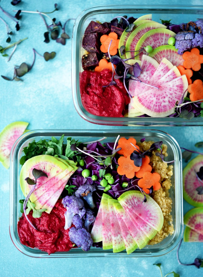 vegetarian rainbow meal prep bowls with quinoa