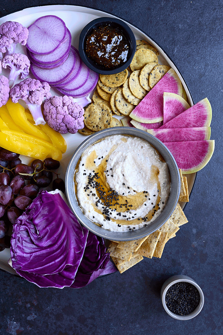 spring white bean dip with crudites