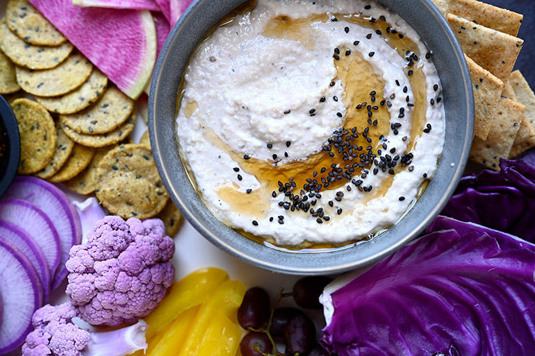 white bean dip with spring crudites