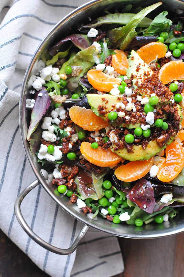 winter salad with brown butter dressing close-up
