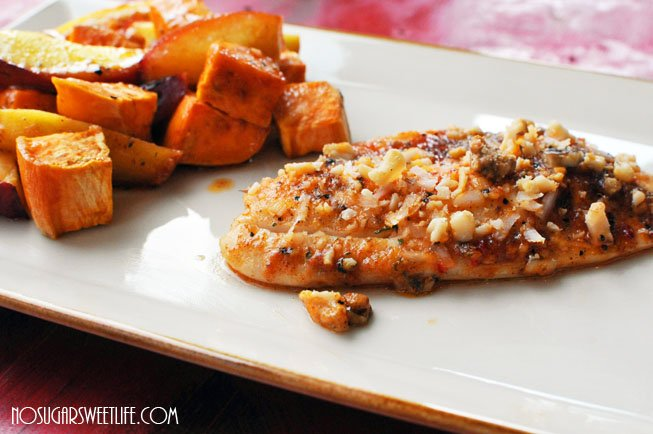 Bourbon Tilapia w/Baked Sweet Potatoes & Peaches | Nosh ...