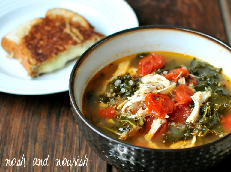 Recipe Wchicken Kale Quinoa Tuscan Chicken Soup Nosh And Nourish